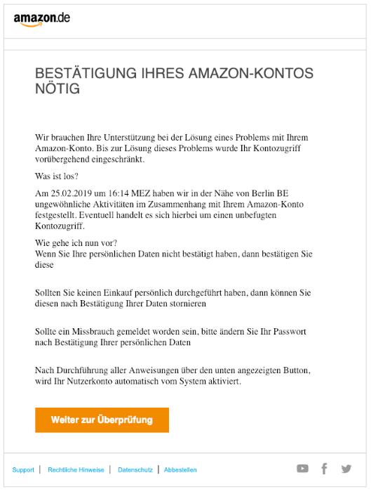 2019-02-26 Amazon Spam-Mail Phishing Bestätigung ihres Amazon-Kontos nötig