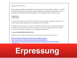 2019-02-26 Erpressung E-Mail Spam Fake Bitcoin