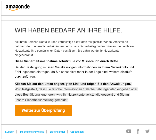 2019-02-27 Amazon Spam Mail Bestaetigung ihres Amazon-Kontos noetig