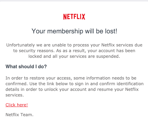 2019-02-28 Netflix Spam-Mail Update required - Netflix account is on hold