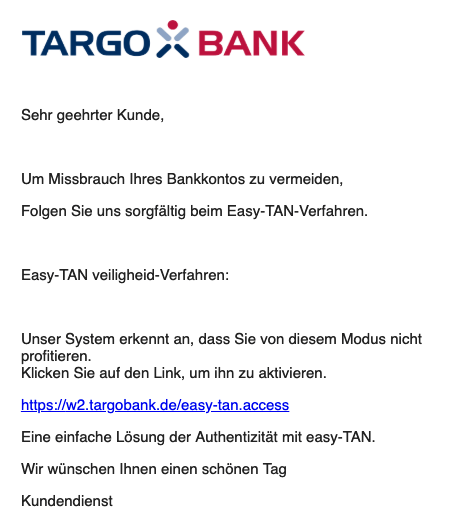 2019-03-01 Targobank Fake-Mail Nieuw bericht