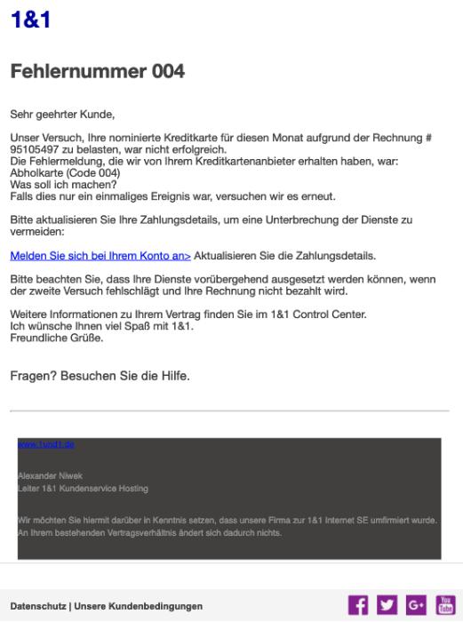 2019-03-04 1und1 Phishing-Mail Fake Spam Fehlernummer 004