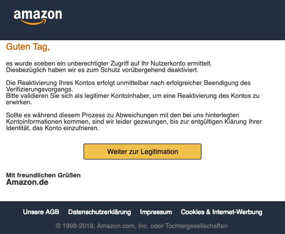 2019-03-04 Amazon Phishing-Mail Ihr Benutzer wird in 7 Werktagen eingeschraenkt