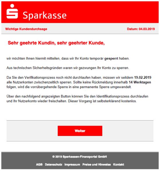 2019-03-04 Sparkasse Phishing-Mail Banking voruebergehend eingeschraenkt