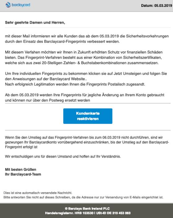 2019-03-06 Barclaycard Spam-Mail Ihre Karte wird deaktiviert