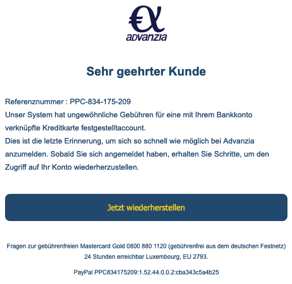 2019-03-08 Advanzia Spam-Mail Phishing Referenznummer