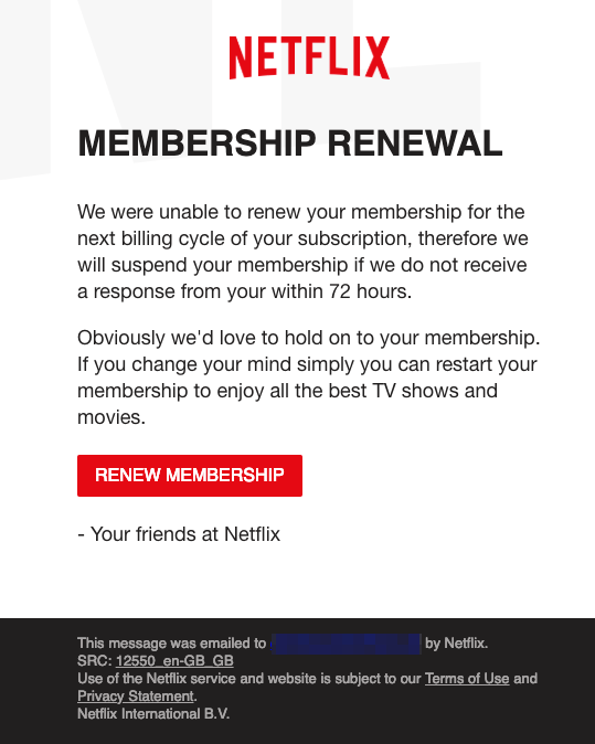 2019-03-08 Netflix Spam-Mail Phishing We were unable to renew your membership