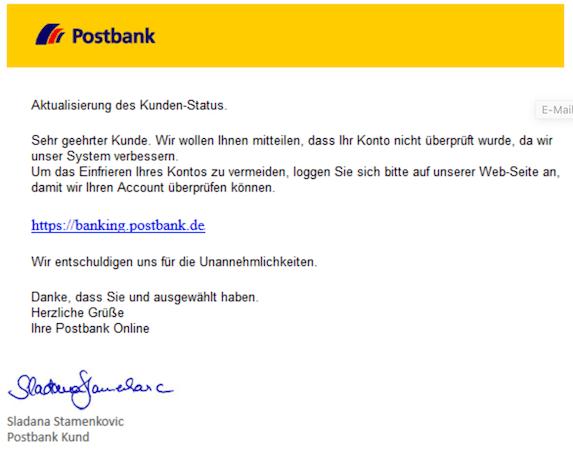 2019-03-13 Postbank Phishing