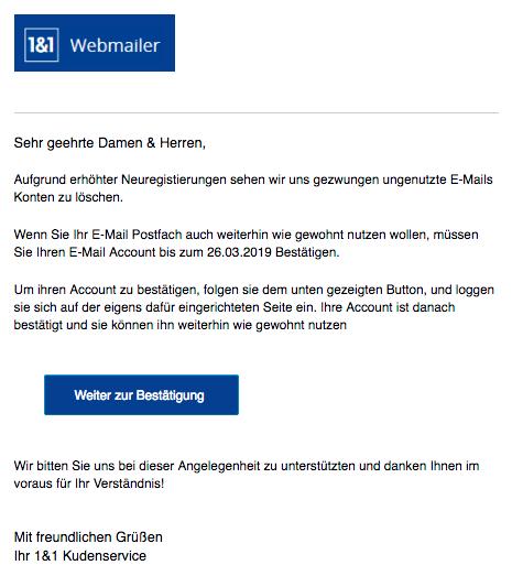 2019-03-14 1und1 Phishing-Mail Löschung ungenutzter E-Mail Konten