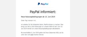 2019-04-05 PayPal-Mail Die AGB von PayPal ändern sich