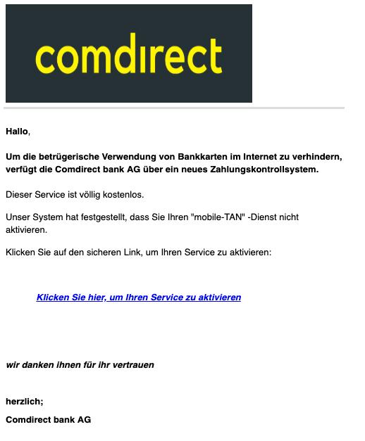 2019-04-12 Comdirect Spam-Mail Mobile-TAN aktivieren