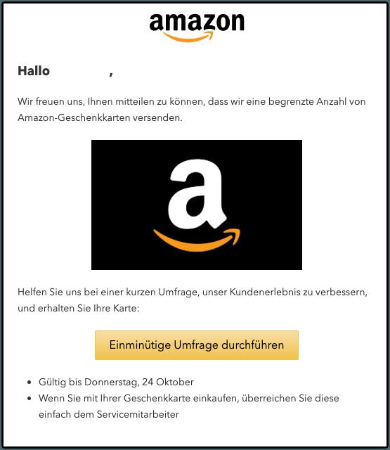 2019-10-22 Amazon Gutschein 1000 Euro Spam-Mail