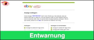Entwarnung ebay Kleinanzeigen Laufzeit Mail