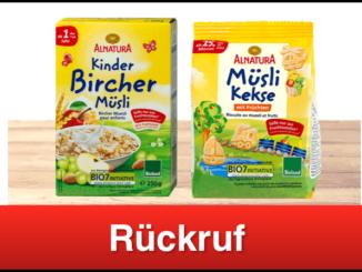 Rückruf Alnatura Kinder Bircher Müsli und Müsli Kekse