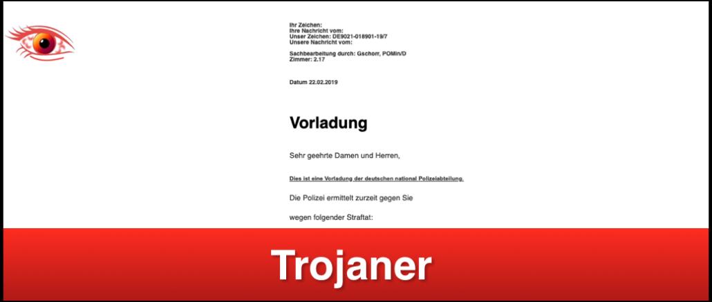 Trojaner Vorladung Polizei Mail