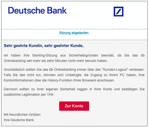 2019-03-06 Deutsche Bank Phishing-Mail Sitzung abgelaufen