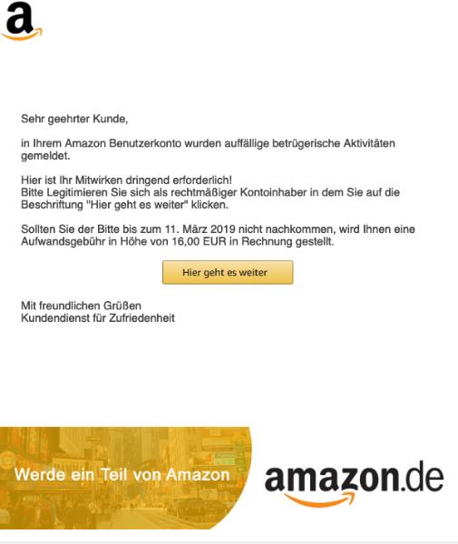 2019-03-08 Amazon Phishing Mail Spam Informationen zu Ihrem Benutzerkonto
