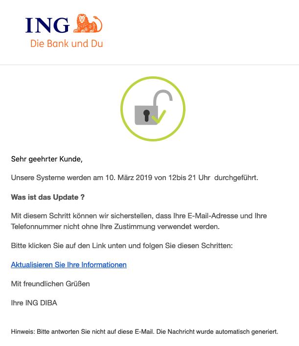 2019-03-08 Ing-Diba Spam-Mail Persoenliche Informationen - ueber Ihr Konto ΙΝG