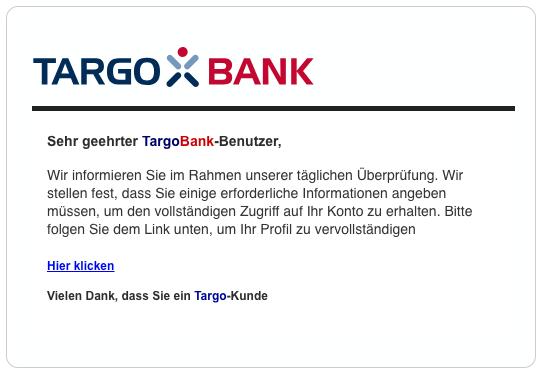 2019-03-11 Targobank Spam-Mail Fake Neue Mitteilung