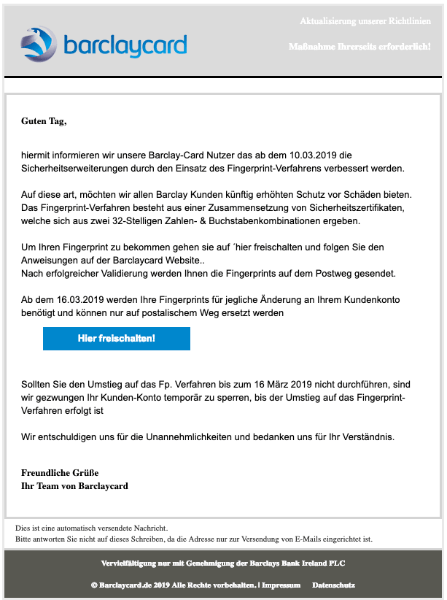 2019-03-12 Barclaycard Phishing-Mail Aktualisierung unserer Richtlinien