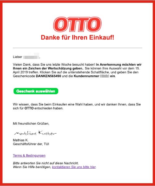 2019-03-12 Otto Spam-Mail Fake Dein Geschenk