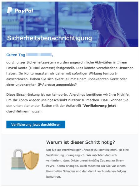 2019-03-12 PayPal Spam-Mail Fake Neue Mitteilung paypal-de