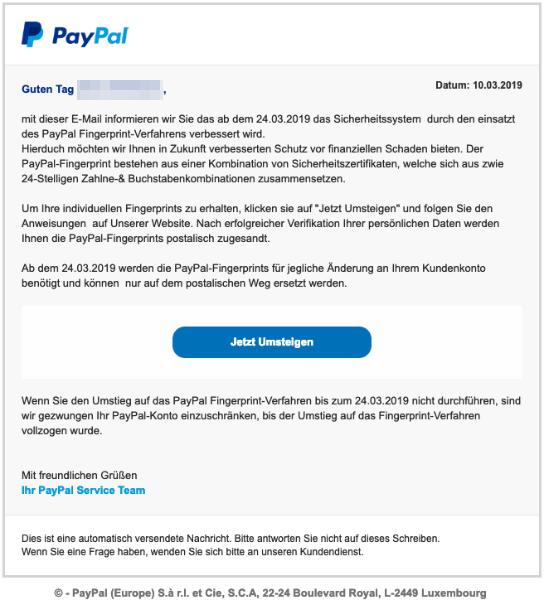 2019-03-12 PayPal Spam-Mail Wichtige Aktualisierung