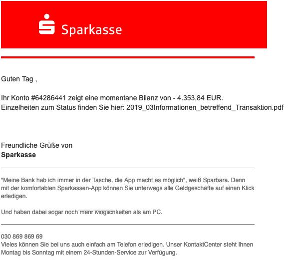2019-03-13 Sparkasse Fake-Mail Spam Anweisung zur Zahlung PDF-Datei