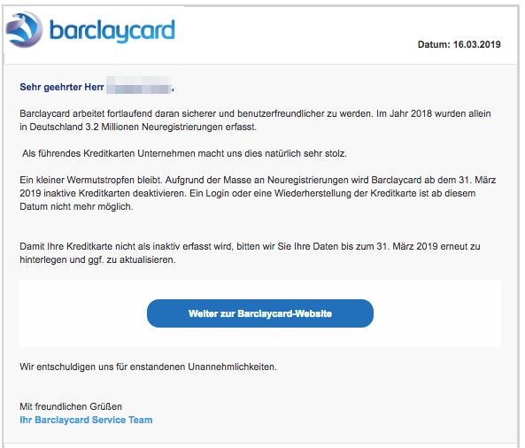 2019-03-16 Barclaycard Spam-Mail Deaktivierung ungenutzer Kreditkartenkonten