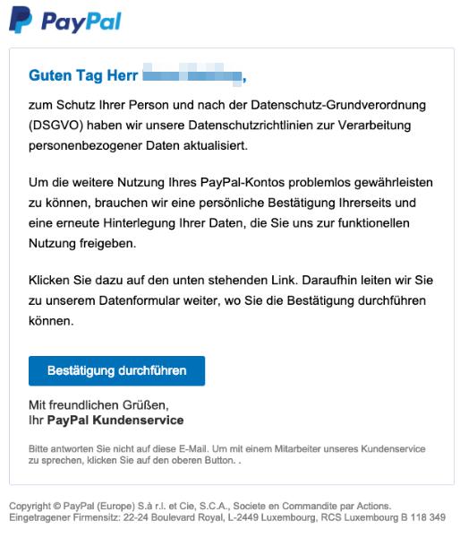 2019-03-18 PayPal Spam-Mail Datenschutz-Grundverordnung