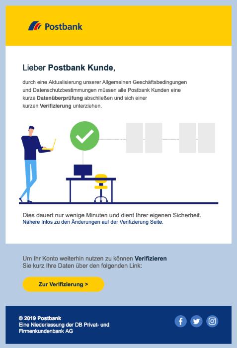 2019-03-19 Postbank Spam-Mail Datenüberpruefung Ihres Postbank Kontos