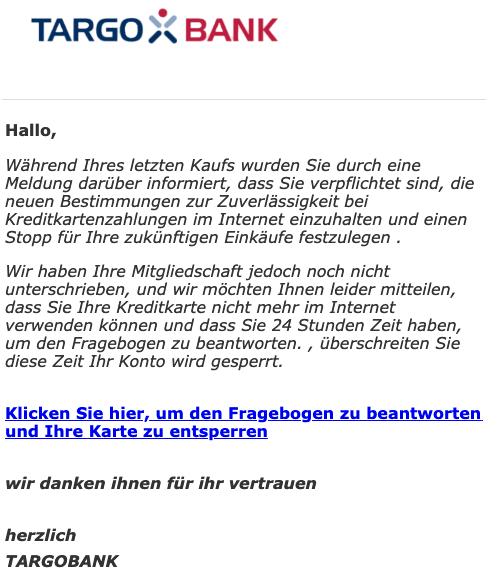 2019-03-19 Targobank Spam-Mail letzte Erinnerung