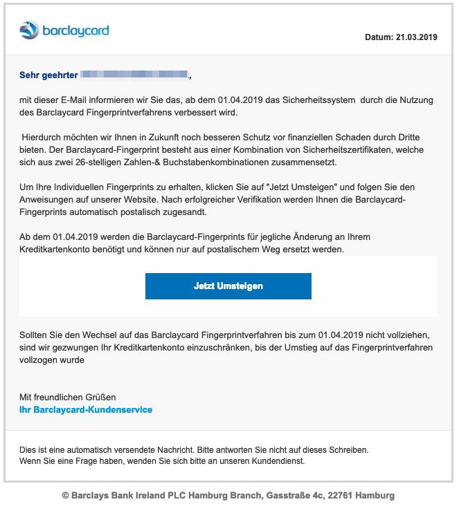 2019-03-22 Barclaycard Spam-Mail Änderung des Sicherheitssytems