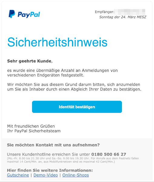 2019-03-24 PayPal Phishing-Mail Sicherheitshinweis - Einschraenkung