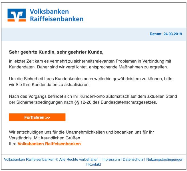 2019-03-24 Volksbank Spam-Mail Aktualisierung Kundenkonto
