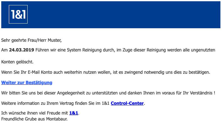 2019-03-25 1und1 Spam Mail Ihr Konto wurde deaktiviert