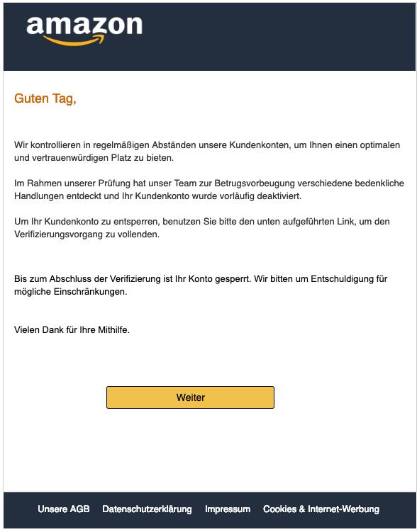 2019-03-25 Amazon Phishing-Nachricht Fake-Mail Amazon - Mögliche Einschränkung