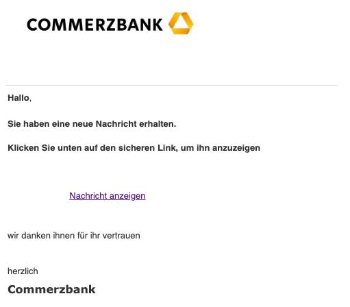 2019-03-28 Commerzbank Spam Phishing Neue Nachricht