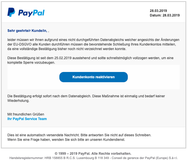 Paypal Sicherheitsteam Email