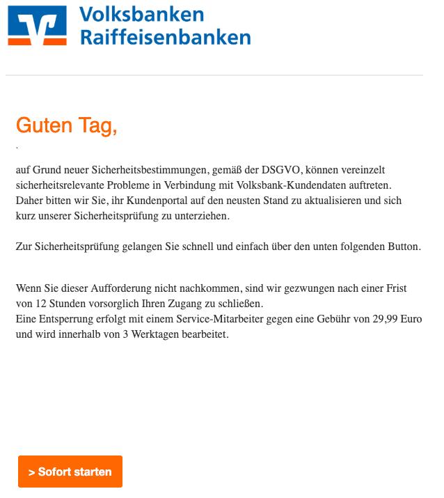 2019-03-28 Volksbank Phishing Mail Dringende Aufforderung