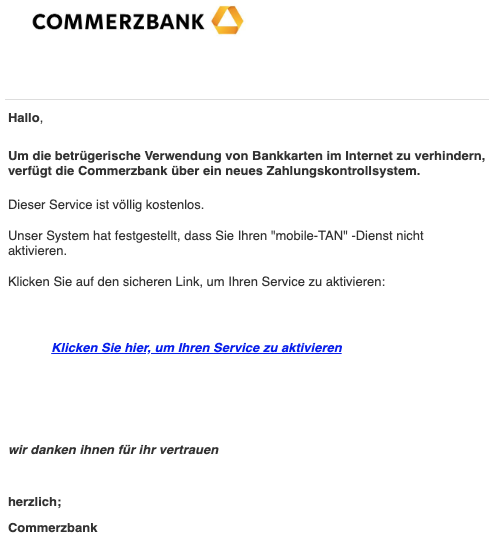 2019-04-01 Commerzbank Spam-Mail Mobile-TAN aktivieren
