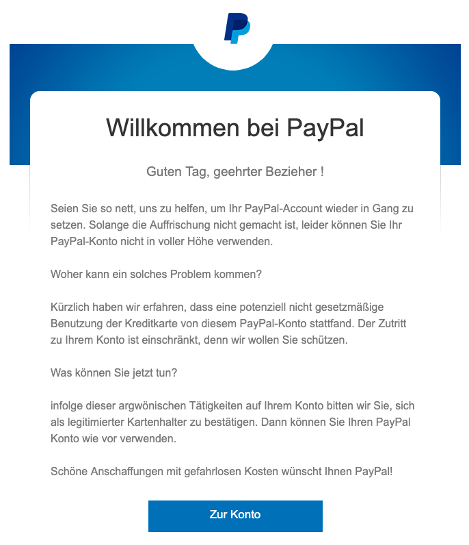 2019-04-01 PayPal Phishing-Mail PayPal konro verifizieren