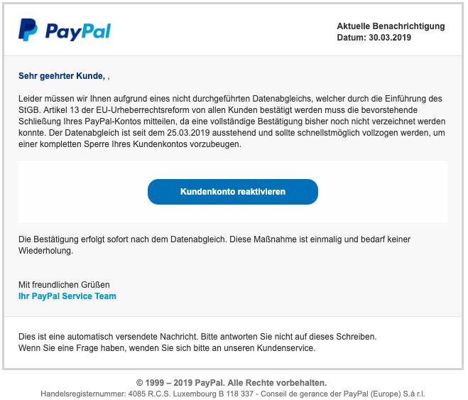 2019-04-01 PayPal Spam-Mail Ihr Kundenkonto wird deaktiviert