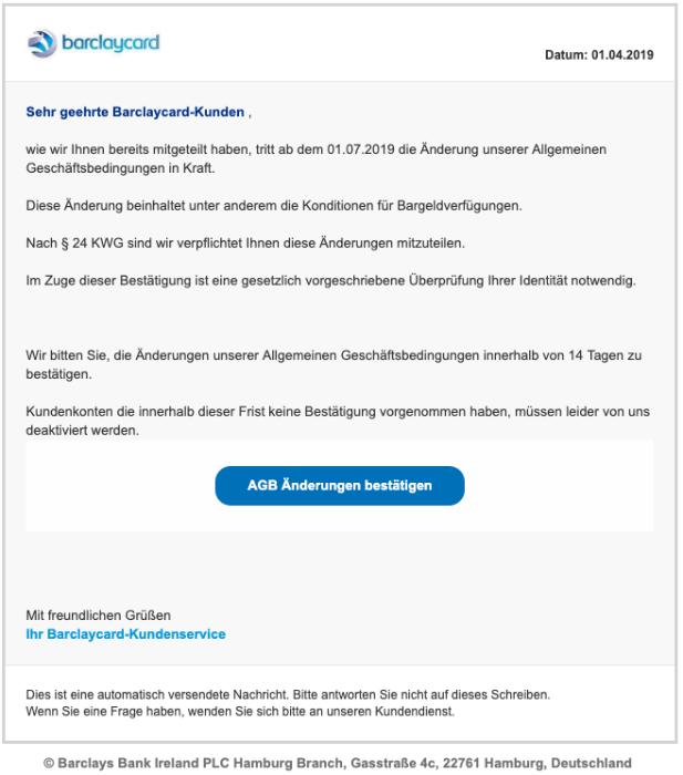 2019-04-02 Barclaycard Spam-Mail Phishing Mitteilungspflichtige Änderungen unserer Allgemeinen Geschäftsbedingungen
