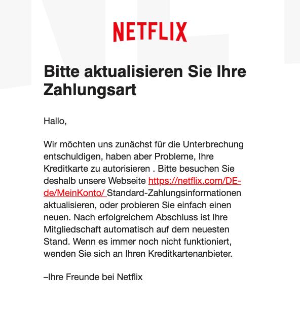 2019-04-02 Netflix Spam-Mail Phishing Aktualisieren Sie die Zahlungsmethode