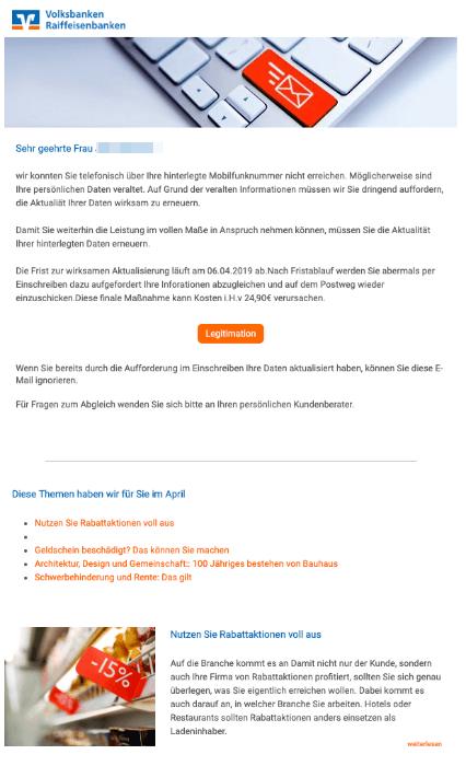 2019-04-02 Volksbank Raiffeisenbank Fake-Mail Ihr Handeln ist erforderlich