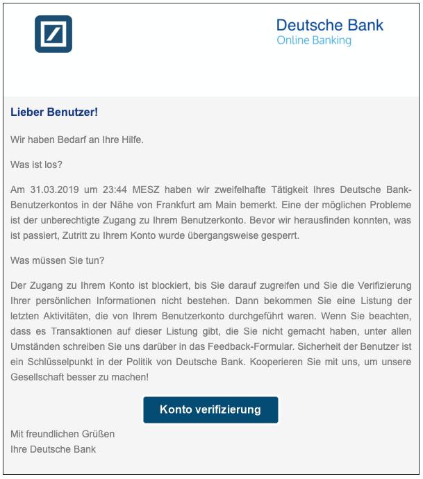 2019-04-04 Deutsche Bank Spam-Mail Phishing Konto verifizieren