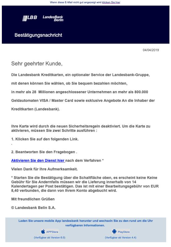 2019-04-04 Landesbank Berlin Spam-Mail Bestätigungsnachricht