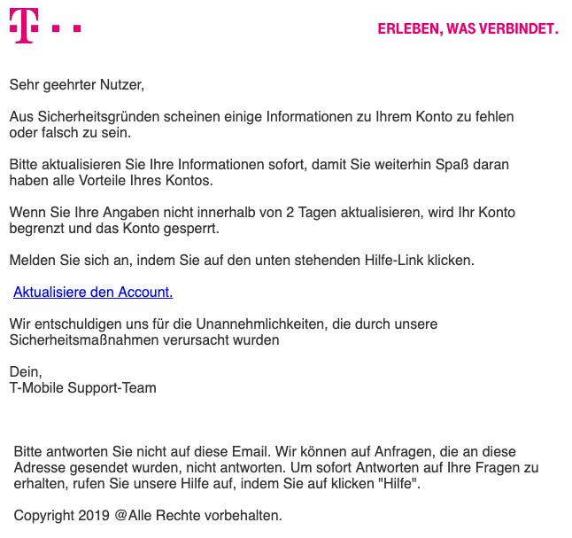2019-04-04 Telekom Phishing-Mail Spam Telekom Update