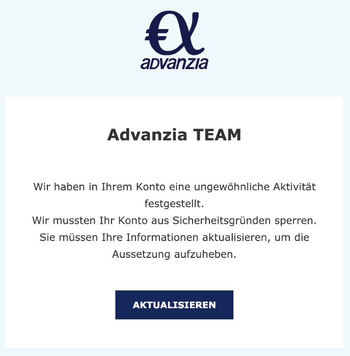 2019-04-07 Advanzia Spam-Mail Handlung erforderlich
